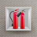 Fire Extinguisher In Brick Wall Niche Vector. Metal Glossiness 3D Realistic Red Fire Extinguisher Illustration