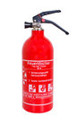 Fire extinguisher red hand infront of excepted background Royalty Free Stock Photo
