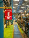 Fire extinguisher sign in factory Royalty Free Stock Photo