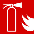 Fire extinguisher sign on red background Royalty Free Stock Images