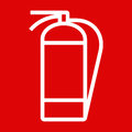 Fire extinguisher sign on red background Stock Image