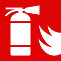 Fire extinguisher sign on red background Royalty Free Stock Photo
