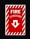 Fire extinguisher sign red on black with clipping path at original size Stock Images