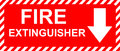 Fire extinguisher sign red and white Stock Images