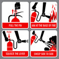 Fire extinguisher vector instruction Royalty Free Stock Photo