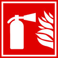 Fire extinguisher vector sign on white background Stock Images