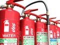 Fire extinguishers isolated on white background Various types of Royalty Free Stock Photo