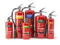 Fire extinguishers on white background. Various types o