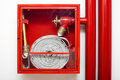 Fire fighter hose large inside a red case Stock Photography