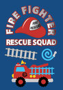 Fire fighter rescue squad vector illustration of a truck and equipment Stock Photo