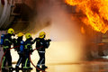 Fire fighters at large incident firefighters lage industrial Royalty Free Stock Images