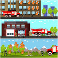 Fire fighting department horizontal banners vector set. Station and firefighters.