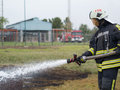 Fire fighting szeged algyo hungary october regional exercise in the training area with urban and contract firefighters Stock Image