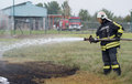 Fire fighting szeged algyo hungary october regional exercise in the training area with urban and contract firefighters Stock Photo
