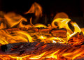 Fire, firewood, fireplace, light, heat, fireplace, stove, sparks, air, night Royalty Free Stock Photo