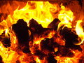 Fire flame in the bashkir bath Royalty Free Stock Image