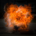 Fire flame explosion fighting practise a Royalty Free Stock Image