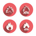 Fire flame icons. Heat signs Royalty Free Stock Photo