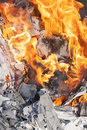Fire flames and ash of a burning camp Royalty Free Stock Images