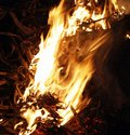 Fire, flames on a black background, fire texture Royalty Free Stock Photo
