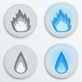 Fire flames blue set icons vector illustration button eps editable and Stock Photo