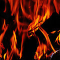 Fire flames of a bonfire or a fireplace Royalty Free Stock Image