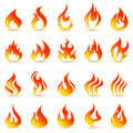 Fire flames collage on a white background with a shadow Royalty Free Stock Images