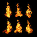 Fire flames collection isolated on black background Royalty Free Stock Photo
