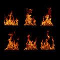 Fire flames collection set on a black background Royalty Free Stock Photos