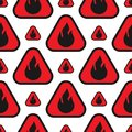 Fire flames danger seamless pattern with red and orange blaze