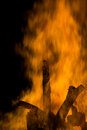 Fire flames detais from a piece of wood burning in a huge Stock Photography