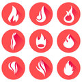 Fire flames icon set Royalty Free Stock Photo