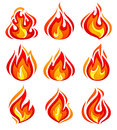 Fire flames new set of isolated on white background vector illustration Royalty Free Stock Image