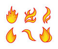 Fire flames. Set. Royalty Free Stock Photo