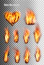 Fire flames set. Royalty Free Stock Photo