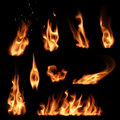 Fire flames set Royalty Free Stock Photo