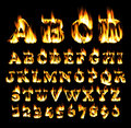 Fire font, alphabet of flame. Royalty Free Stock Photo
