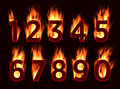 Fire font. Numbers in the fire. Alphabet with fire. Royalty Free Stock Photo