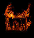 Fire frame in black background Royalty Free Stock Photos