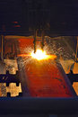 Fire gas cutting steel plate Royalty Free Stock Photo