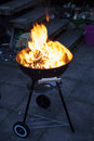 Fire in the grill detail ready to cook Royalty Free Stock Images