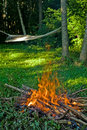 Fire and hammock Stock Image
