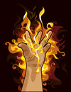 Fire hand Stock Photo