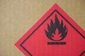 Fire hazard symbol on a cardboard box Royalty Free Stock Photo