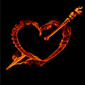 Fire  heart with arrow  for valentine day Royalty Free Stock Photo