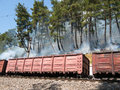 Fire on a hillside with trees next to the railroad Stock Image