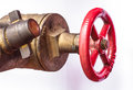 Fire hose couplings on a white surface Stock Photos