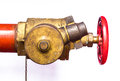 Fire hose couplings on a white surface Royalty Free Stock Image