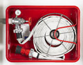 Fire hose equipment in a red metallic box horizontal Stock Images