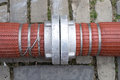 Fire hoses with storz couplings Royalty Free Stock Photos